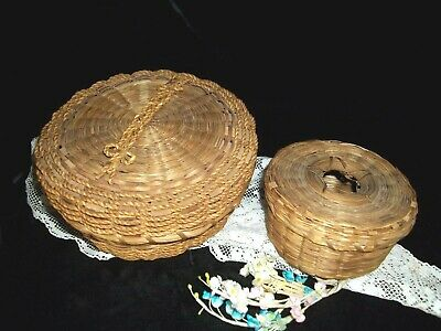 Antique set Split Ash Sweet Grass Basket Lidded Hole dated 1918 Splint