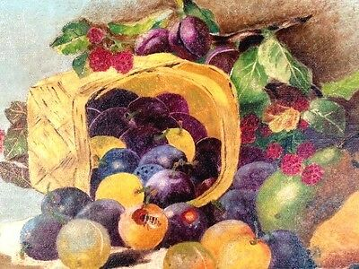 Antique Original Oil Painting Signed Framed 19th Cent O/C Still Life with Fruit