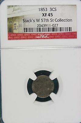1853 XF45 STACKS'S W. 57TH ST COLLECTION Three Cent!! #A4680