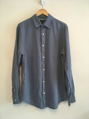 8666892f4 Banana Republic solid blue 55% Linen 45% Cotton button long sleeve shirt  Mens L