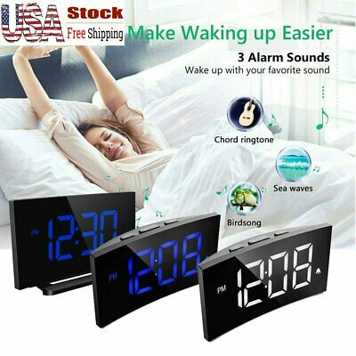 "MPOW 5"" USB Bedside Alarm Clock Dual Alarm Digital LED Display Dimmable Snooze"