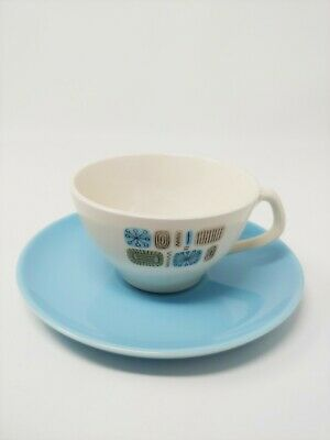 Vintage Canonsburg Temporama Atomic Set of 7 Cups Saucers Robins Egg Blue MCM