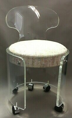 1970's Lucite Vanity Stool Chair on Casters by Charles Hollis Jones for Hill Mfg