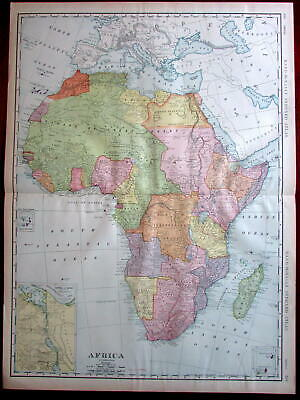 Africa Continent 1908 huge detailed Rand McNally map