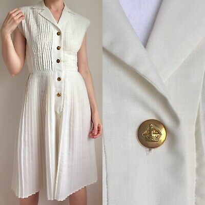 Vtg 1950s Cream White pleated Nautical DRESS Sailor MOD GOLD BUTTONS UK10 US6