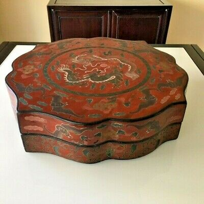 Large Antique Chinese Wedding Box Red Lacquer Double Dragon