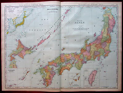 Japan Formosa Ezo Chishima Ryukyu Osumi 1906 huge detailed Rand McNally map