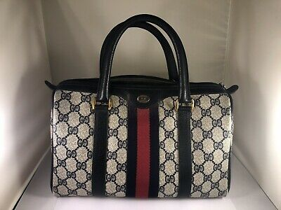 fcab503d7 Authentic Vintage GUCCI Web Boston Doctor Bag Satchel Speedy Purse Handbag
