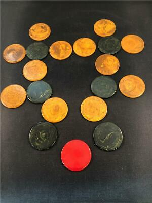 19 Vintage Antique Swirled marbleized Bakelite Poker Chips red green gold TESTED