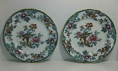 "Vintage Cauldon England Porcelain Dinner Plates FLOWERS 9"" Set Of 2"