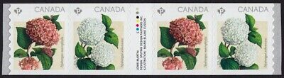 GUTTER strip of 4 Coil stamps = HYDRANGEA = MNH VF Canada 2016 #2898i