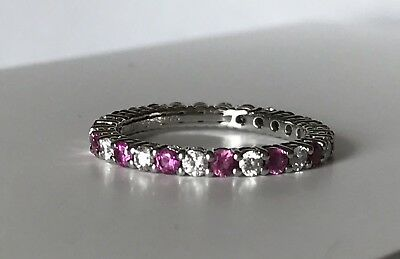 d955a3b74 Tiffany & Co. Platinum Pink Sapphire Diamond Eternity Band Ring Shared Prong