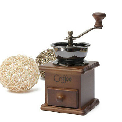 Wooden Vintage Antique Coffee Bean Mill Windmill Hand Crank Manual Grinder