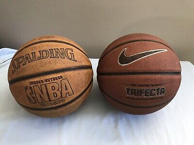 (2) Basketballs - Nike Trifecta and Spalding - Composite Leather Official Size