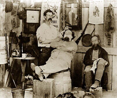 199618 Getting a Shave at A Barber Shop 1869 Decor Wall Print Poster