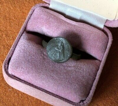 Ancient Medieval Excavated Bronze Ring Virgin Mary Queen Of Heaven ? Size 7 3/4