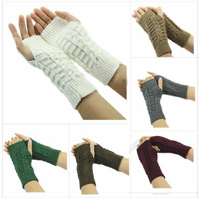 Fashion Women Knitted Fingerless Winter Gloves Unisex Soft Warm Mitten