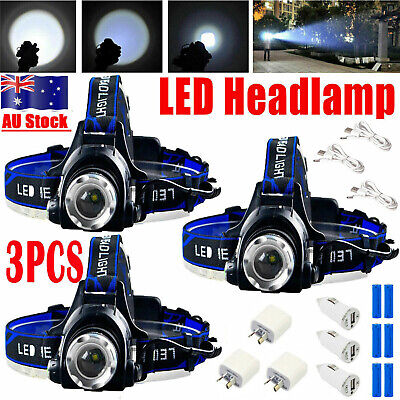 3X 90000LM LED Headlamp Rechargeable Li-Ion Headlight Head Torch Camping Outdoor