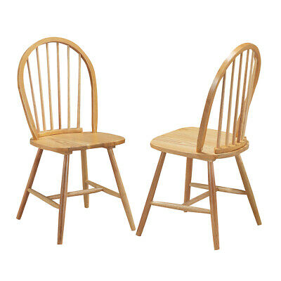 2 Set Vintage Windsor Dining Side Chair Wood Natural Finish Spindle Kitchen Room