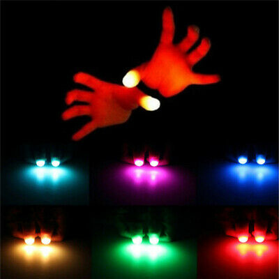 2pcs Colorful LED Magic Light Up Silicone Thumb Props Fingers Trick Prank Novel