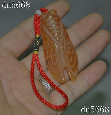 Collect Old Chinese natural agate carving lucky Cicada statue amulet Pendant