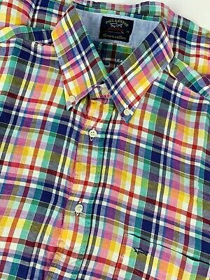 Paul & Shark Linen Cotton Blend Plaid Shirt sz 40 Blue Pink Yellow Green