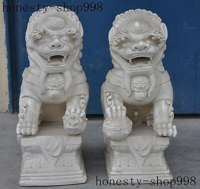 "15""China Dehua White Porcelain Guardian Door Evil Foo Dog Lion beast statue pair"