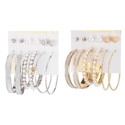 6 Pairs/set Vintage Silver/Gold Big Round Circle Hoop Dangle Earrings t#s