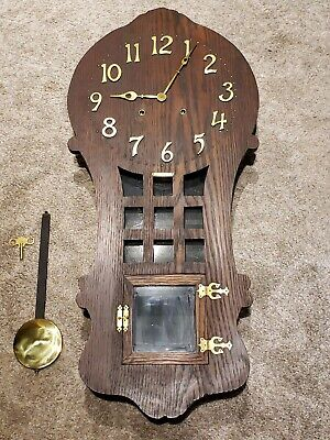 "Antique Working 1908 SESSIONS ""Ramona"" Mission Oak Art Deco Regulator Wall Clock"