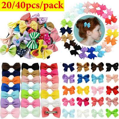 20/40PCS Bow Hair Clip Set Alligator Clips Girls Kids Sides Hair Accessories
