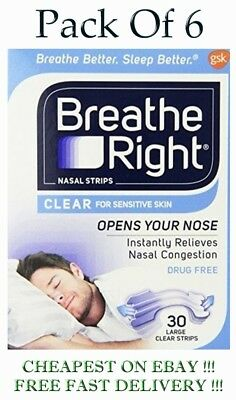 Breath Right  CLEAR  30 Tan Large Nasal Strips   Pack of  6
