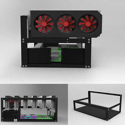 QU Steel Coin Open Air Miner Mining Frame Case Rig Up to 6 GPU BTC LTC ETH Ether