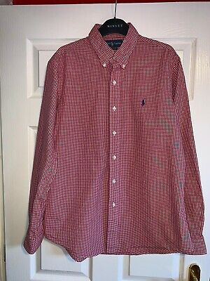 RALPH LAUREN POLO Mens Long Sleeve Red/white Check Custom Fit Shirt Size L
