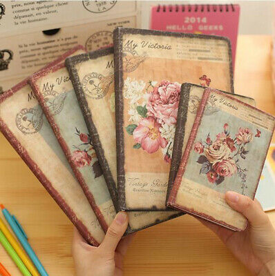 QU Retro PU Leather Floral Flower Schedule Book Diary Weekly Planner Notebook NE
