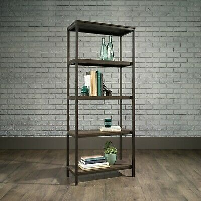 Industrial Style 4 Shelf Bookcase (Smoked Oak Finish)
