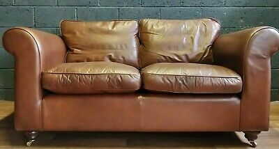 VINTAGE Laura Ashley Lynden 3 Seater Sofa In Heritage Leather