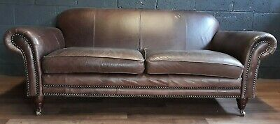 vintage VICTORIAN French Art Deco chesterfield antique Leather Sofa 3 seater