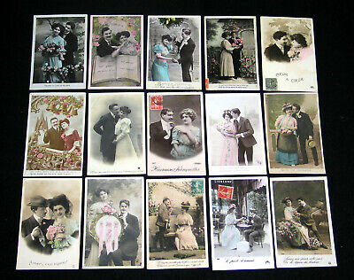 Lot A06 : 15 Cpa Couple Amoureux Flirt Lover Miss Pin-Up Charme Glamour Mode