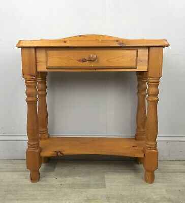 Chunky Pine Console Hall Table With Single Drawer, Country Style J08