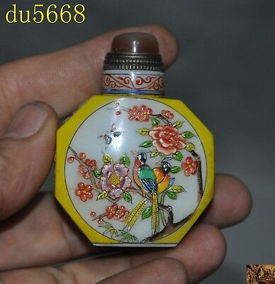 China dynasty glass agate Hand-painted Peach blossom bird Snuff bottle statue
