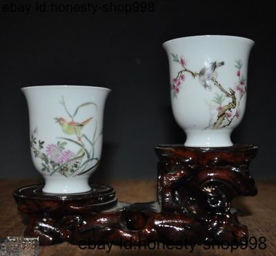 China dynasty wucai porcelain flower kingfisher bird statue goblet wineglass cup