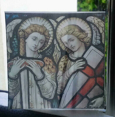 "Stained Glass - ""Two Angels""  Kiln fired.transfer piece semi translucent"
