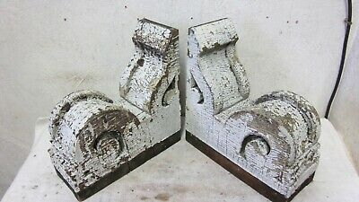 2 Antique Beefy Solid Wood Victorian Brackets Architectural Salvaged Corbels