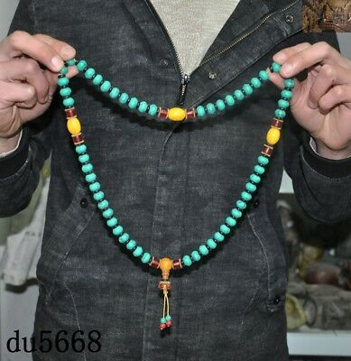 """16""""Old Tibetan Buddhism temple Beeswax turquoise Exorcism amulet necklace statue"""