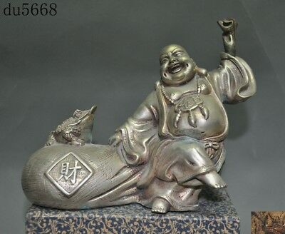 China temple Tibet silver wealth animal Golden Toad Happy laugh Maitreya statue