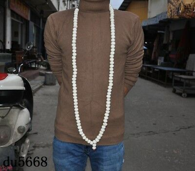 """30"""" Chinese Buddhism temple shell Hand carved Fozhu Prayer beads amulet necklace"""