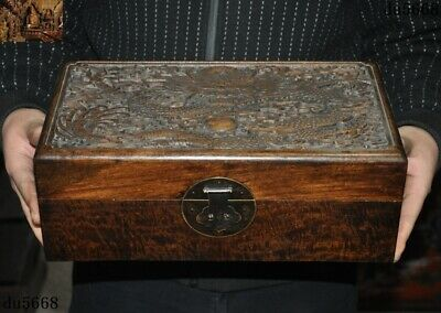 """13""""Ancient Old China Boxwood Wood carved animal Dragon jewelry Box Boxes statue"""