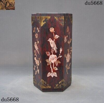 China huanghuali wood inlay shell carve flower bird Brush pot pencil vase statue