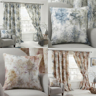 WOODLAND Trees Watercolour Print Lined Tape Top Pencil Pleat Curtains Pairs