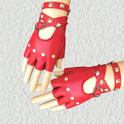 QU 1 Pairs Half Finger PU Leather Gloves Rock Punk Style Rivet Motorcycle Gloves